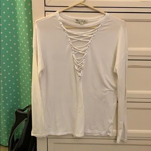 Women's lace down top from express